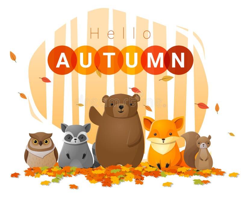 Hello-de herfstachtergrond met wilde dieren vector illustratie