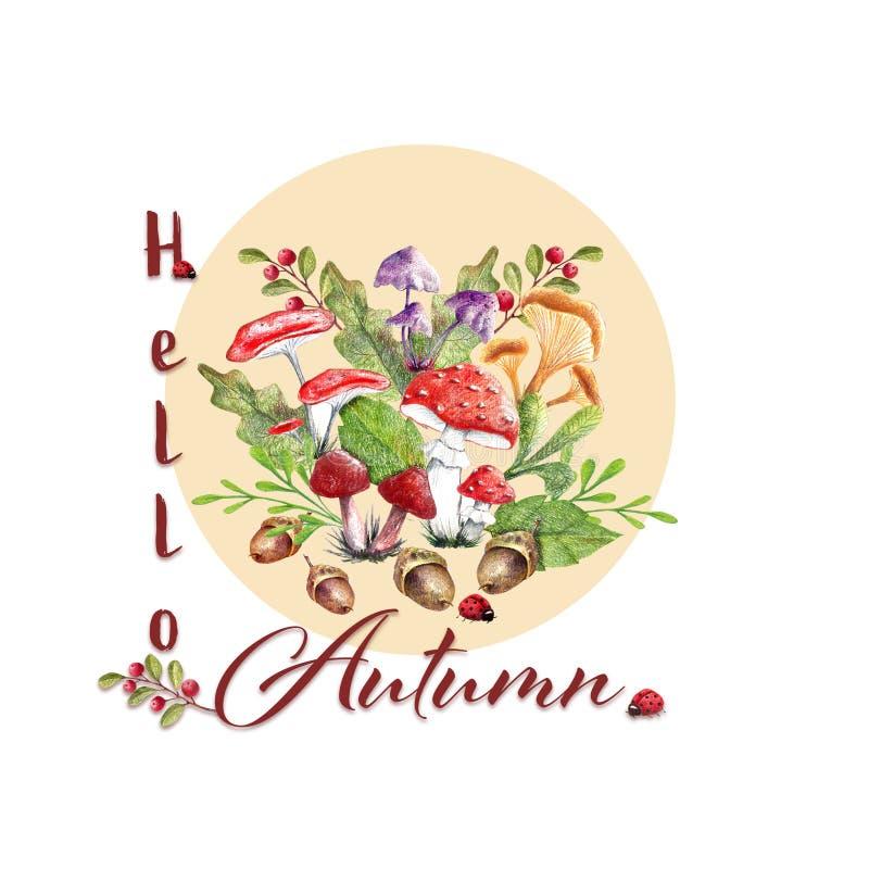 Hello-de herfsthand getrokken illustratie stock illustratie