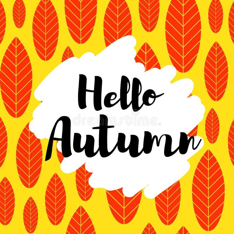 Hello-de herfstkaart vector illustratie