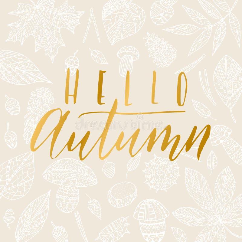 Hello-de herfstkaart stock illustratie