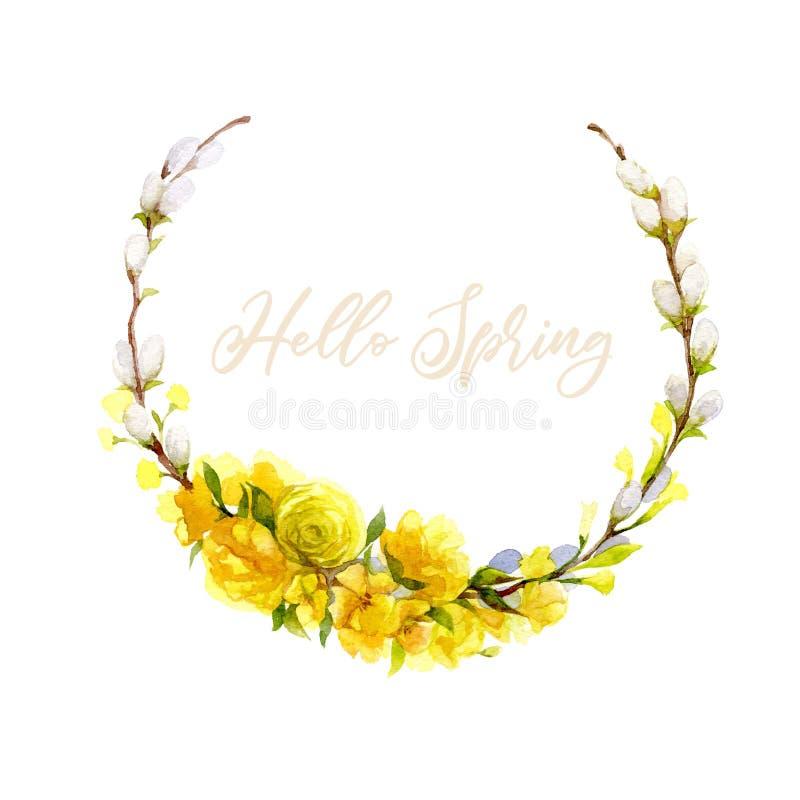 Hello-de kaart van de de lentegroet Hand getrokken illustratie met bloemenkroon stock illustratie