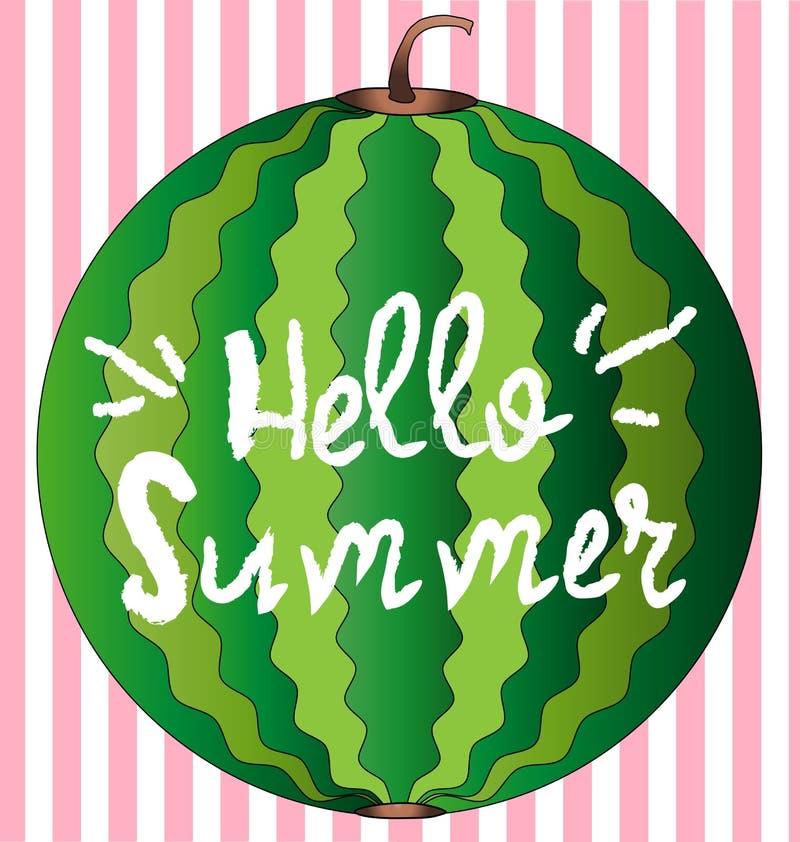 Hello-de kaart van de de zomergroet, affiche, druk Vector typografische achtergrond met abstracte de verftextuur van de watermelo vector illustratie