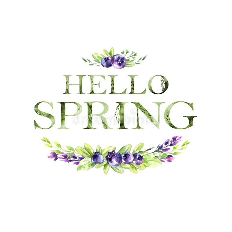 Hello-de Lente bloemen artistiek het van letters voorzien citaat met bessen De moderne kaart van de alfabetgroet De illustratie v stock illustratie