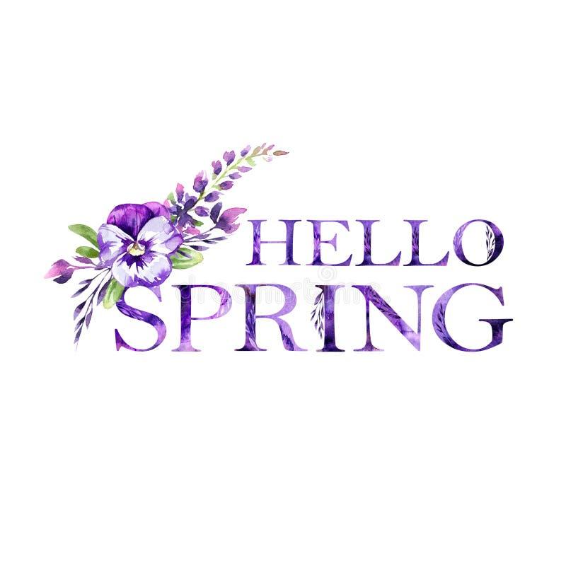 Hello-de Lente bloemen artistiek het van letters voorzien citaat met bloemen De moderne kaart van de alfabetgroet De illustratie  royalty-vrije illustratie