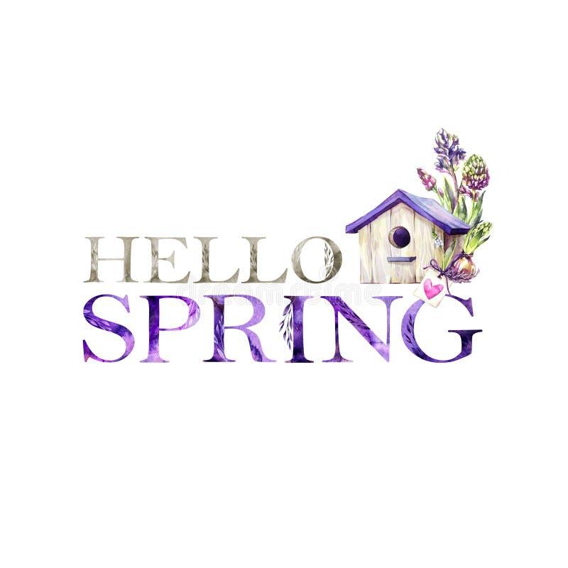 Hello-de Lente bloemen artistiek het van letters voorzien citaat met vogelhuis De moderne kaart van de alfabetgroet De illustrati stock illustratie