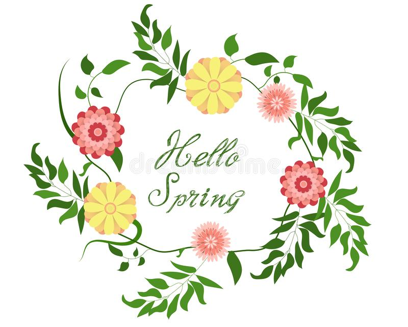 Hello-de lente! Bloemenkroon op witte achtergrond Heldere kleurrijke de lentebloemen Vector illustratie stock illustratie