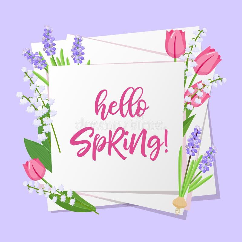 Hello-de lente het van letters voorzien De lentebloemen op Witboekachtergrond met seizoengebonden de lenteteksten Vector illustra royalty-vrije illustratie