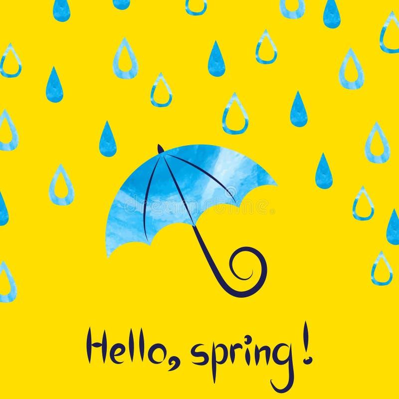 Hello-de Lente Vectorillustratie met waterverfparaplu en dalingen stock illustratie