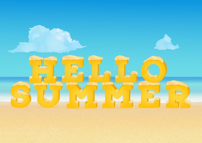 Hello-de lenteinschrijving in 3d stijl op tropisch strand Typografieuitdrukking van de zomerdoopvont die wordt gemaakt stock illustratie
