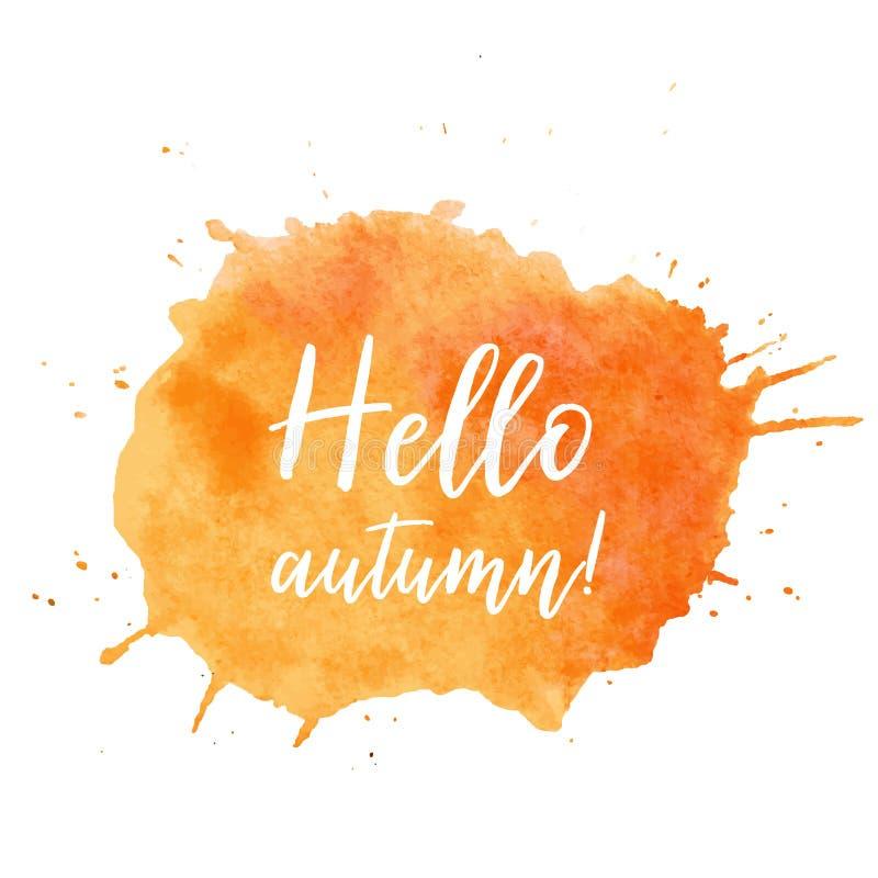 Hello-de plaatvector van de de herfsttekst Hello-de de plaatvector van de de herfsttekst, achtergrond voor verkoop, adverteert ka vector illustratie