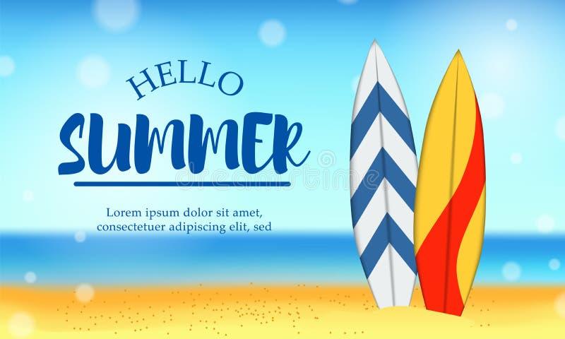 Hello-de reisvakantie van de de Zomerdag bij landschap van het strand het tropische seizoen met surfende raad vector illustratie