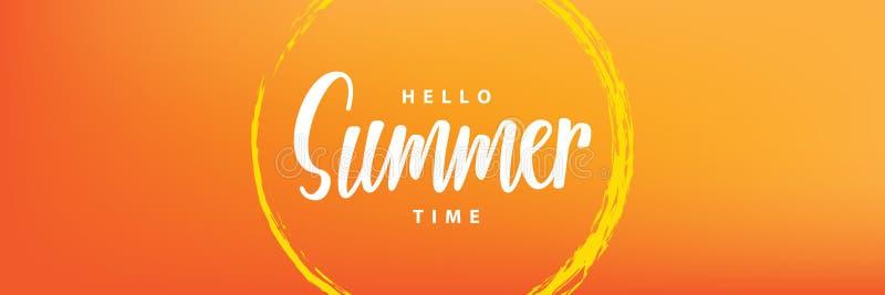 Hello-de rubriekontwerp van de de zomertijd voor banner of affiche De zomer ev vector illustratie