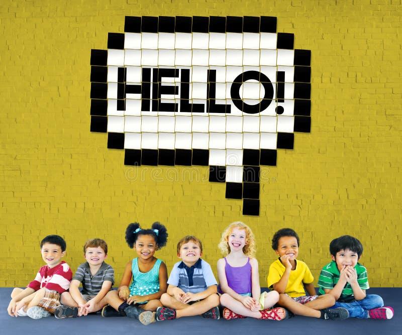 Hello-de Technologie Grafisch Concept van de Toespraakbel stock foto