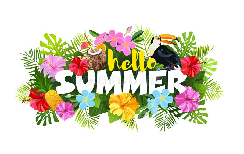Hello-de vectorillustratie van de de Zomersamenstelling stock illustratie