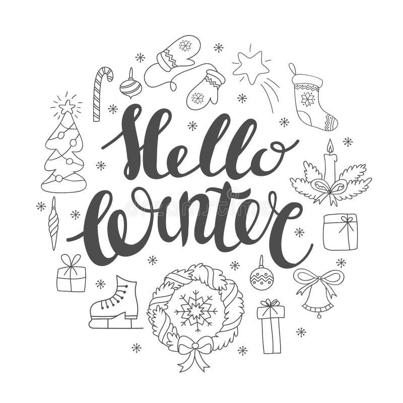 Kleurplaten Kerst En Nieuwjaar Kaarten Hello De Winter Het Handlettering Met Kerstmiselementen