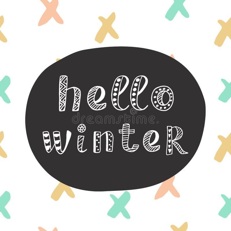 Hello-de winter het moderne van letters voorzien in etnische Skandinavische stijl stock illustratie