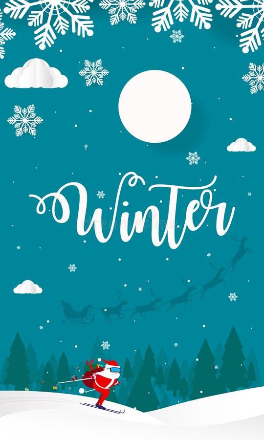 Hello-de Winter met Heuvelsbergen met Bomen betrekt en ski Santa Claus Vector Illustration, Vrolijke Kerstmis en Gelukkig Nieuwja royalty-vrije illustratie