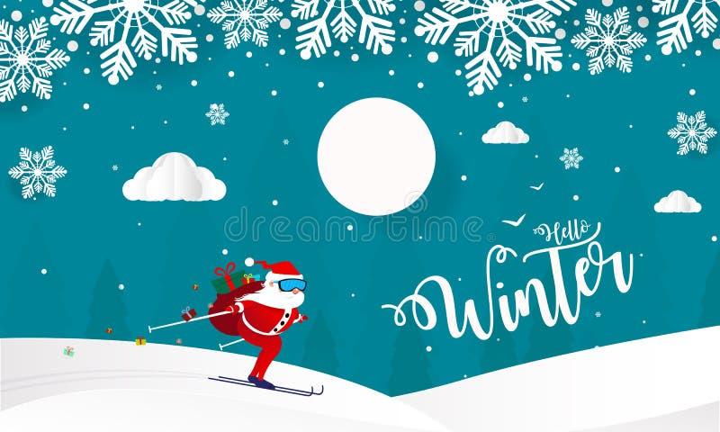 Hello-de Winter met Heuvelsbergen met Bomen betrekt en ski Santa Claus Vector Illustration, Vrolijke Kerstmis en Gelukkig Nieuwja stock illustratie
