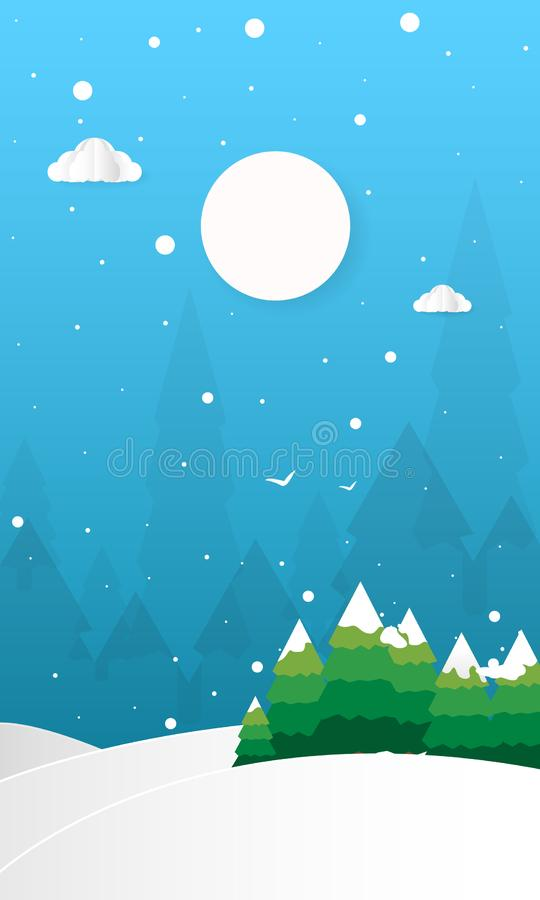 Hello-de Winter met Heuvelsbergen met Bomenwolken en Maan Vector Vlakke Illustratie, Vrolijke Kerstmis en Gelukkig Nieuwjaar stock illustratie