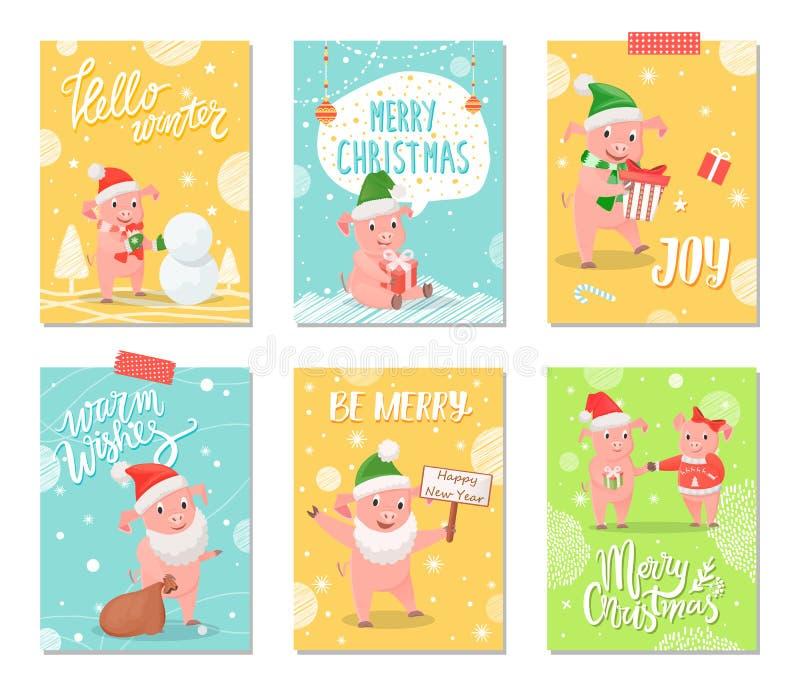 Hello-de Winter, Vreugde van de Winter Vrolijke Kerstkaarten vector illustratie