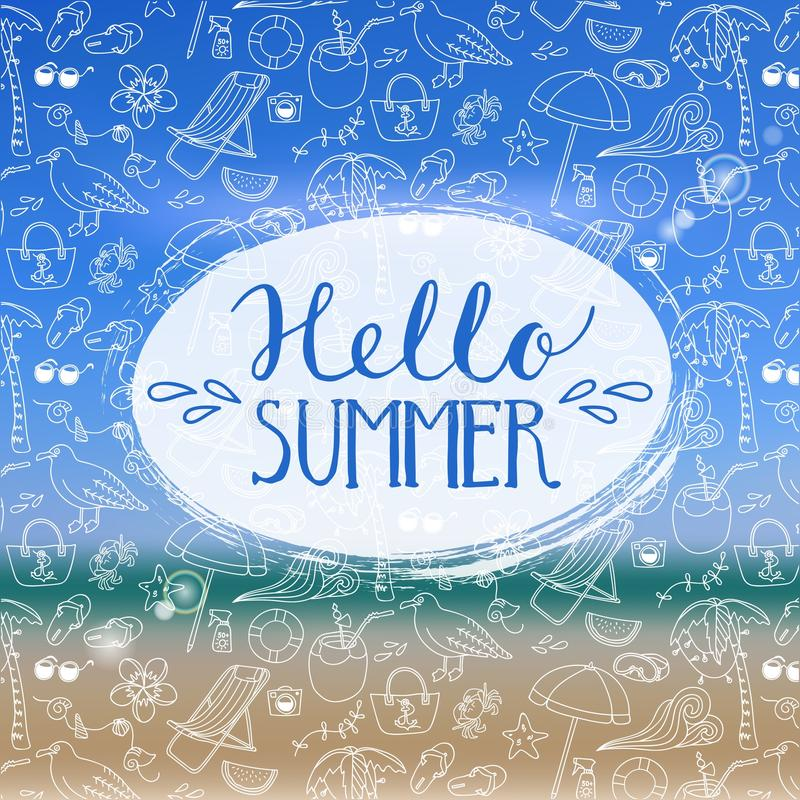 Hello-de zomer stock illustratie