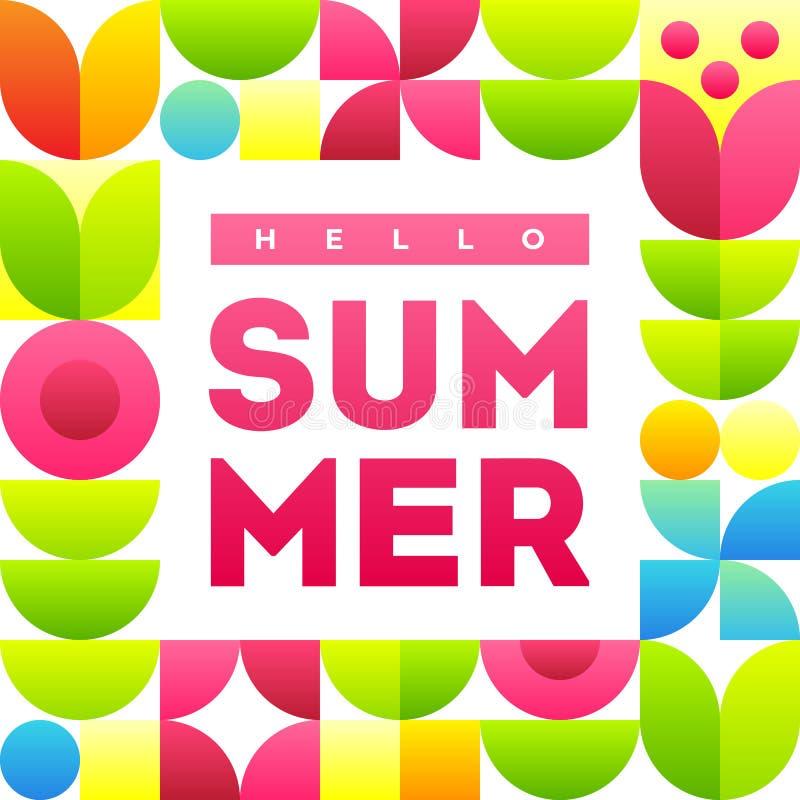 Hello-de zomer Bannermalplaatje met tekst en modieus kader met abstracte bloemen vector illustratie