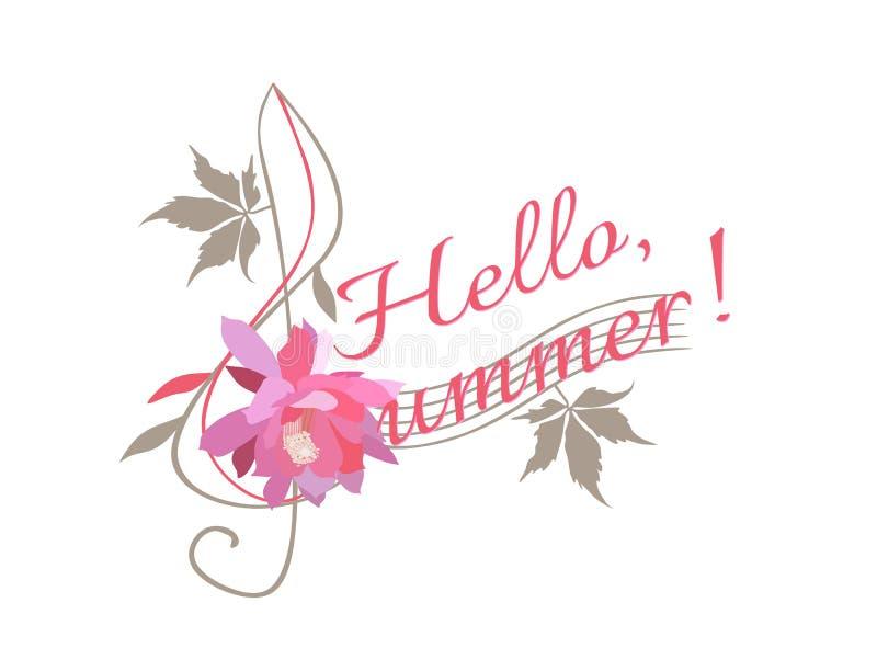 Hello, de zomer! G-sleutel en creatieve brief 'S 'in vorm van bloemendieg-sleutel op witte achtergrond wordt geïsoleerd Muzikaal  royalty-vrije illustratie