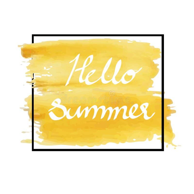 Hello-de zomer in de gele slagen van de kleuren grunge artistieke borstel in zwart kader stock fotografie