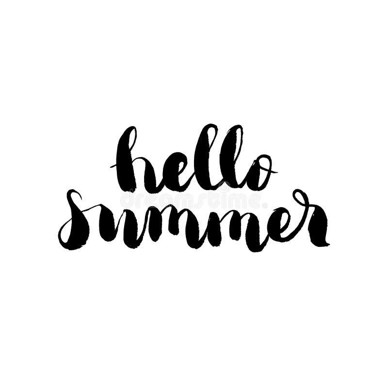 Hello-de zomer - hand getrokken het van letters voorzien vector royalty-vrije illustratie