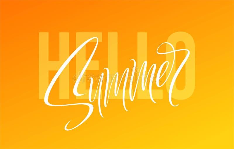 Hello-de zomer hand het getrokken van letters voorzien Vector illustratie vector illustratie