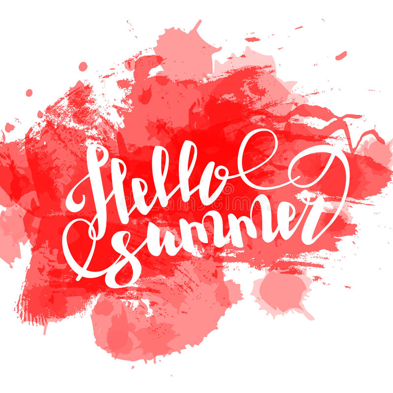 Hello-de zomer het rode gekleurde hand van letters voorzien royalty-vrije illustratie