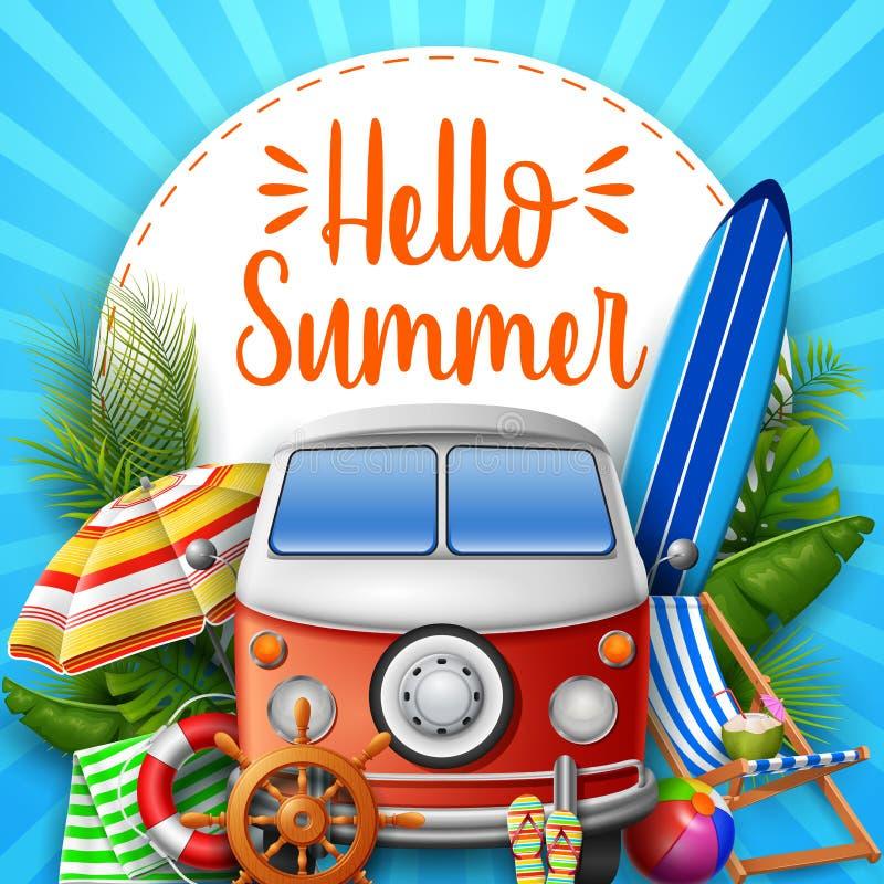 Hello-de zomer Kampeerautobestelwagen vector illustratie