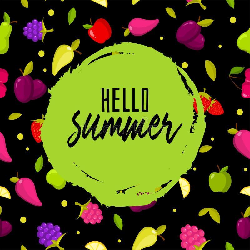 Hello-de zomer Kleurrijke achtergrond met vruchten royalty-vrije illustratie