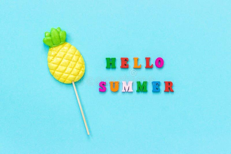 Hello-de zomer kleurrijke tekst, ananaslolly op stok op blauwe document achtergrond Conceptenvakantie of vakantie Creatieve Hoogs stock foto's