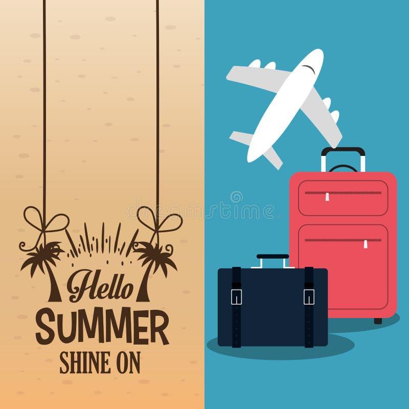 Hello-de zomer met de affiche van het koffersvliegtuig stock illustratie