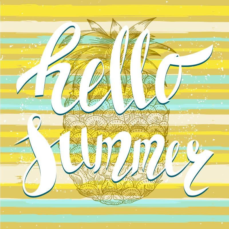 Hello-de zomer met een ananas Hand het geschreven unieke van letters voorzien royalty-vrije illustratie
