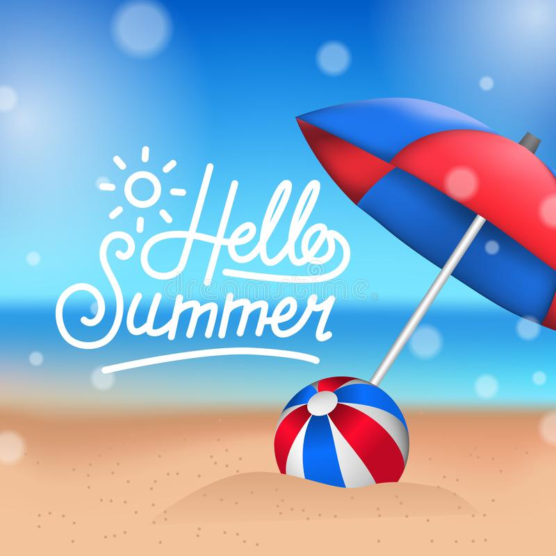 Hello-de Zomer tropisch buiten mooi strand met ballon en paraplu op het zand royalty-vrije illustratie