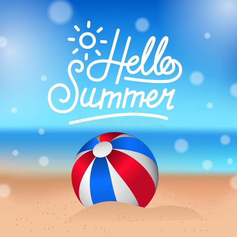 Hello-de Zomer tropisch buiten mooi strand met ballon op het zand vector illustratie