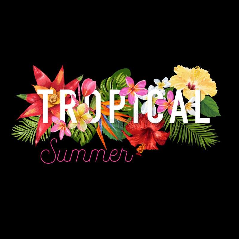Hello-de Zomer Tropisch Ontwerp Tropische HibisÑ  ons Bloemenachtergrond voor Affiche, Verkoopbanner, Aanplakbiljet, Vlieger vector illustratie