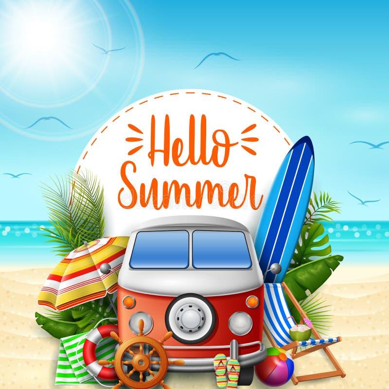 Hello-de zomer De vakanties van de zomer De bestelwagen van de kampeerauto op het strand stock illustratie