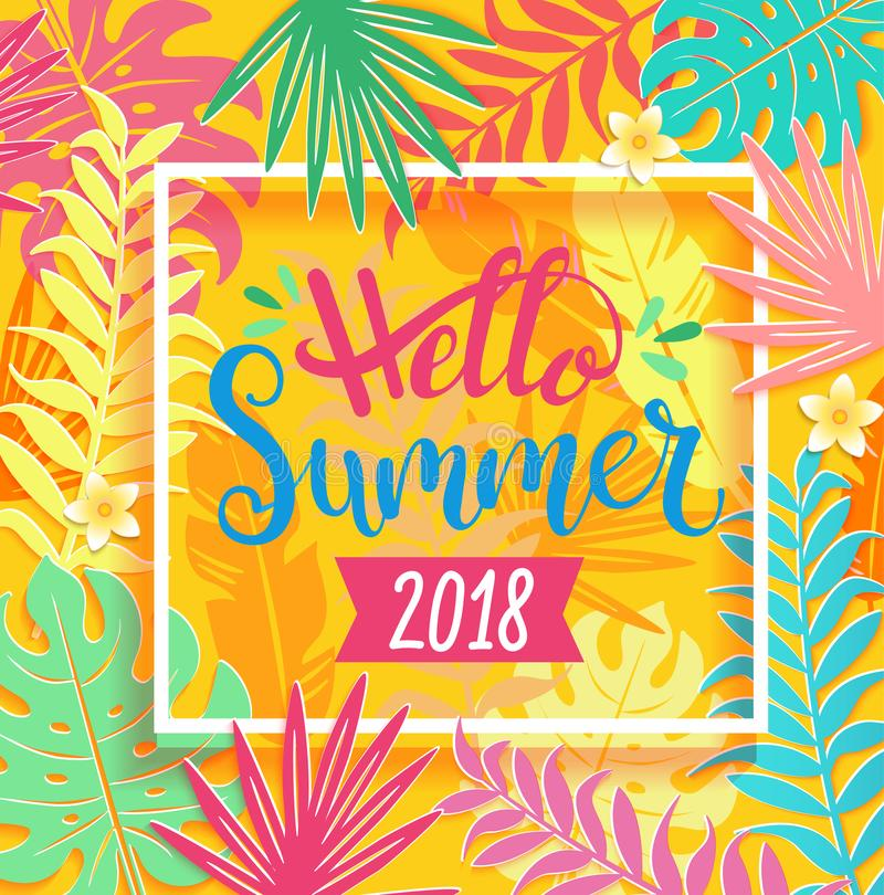 Hello-de zomer van 2018 die op tropische bladeren van letters voorzien vector illustratie