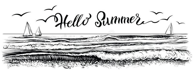 Hello-de zomer, van letters voorziend met panorama van oceaan of overzeese golven en jachten Vector illustratie stock illustratie