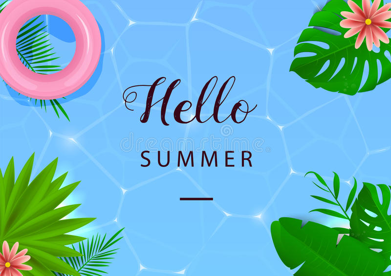 Hello-de zomer Vector illustratie Hoogste mening Water en paraplu's Tropische Bladeren royalty-vrije illustratie