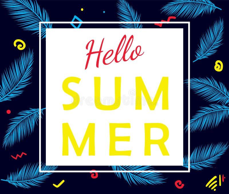 Hello-de zomer vectoraffiche met palmbladen stock illustratie