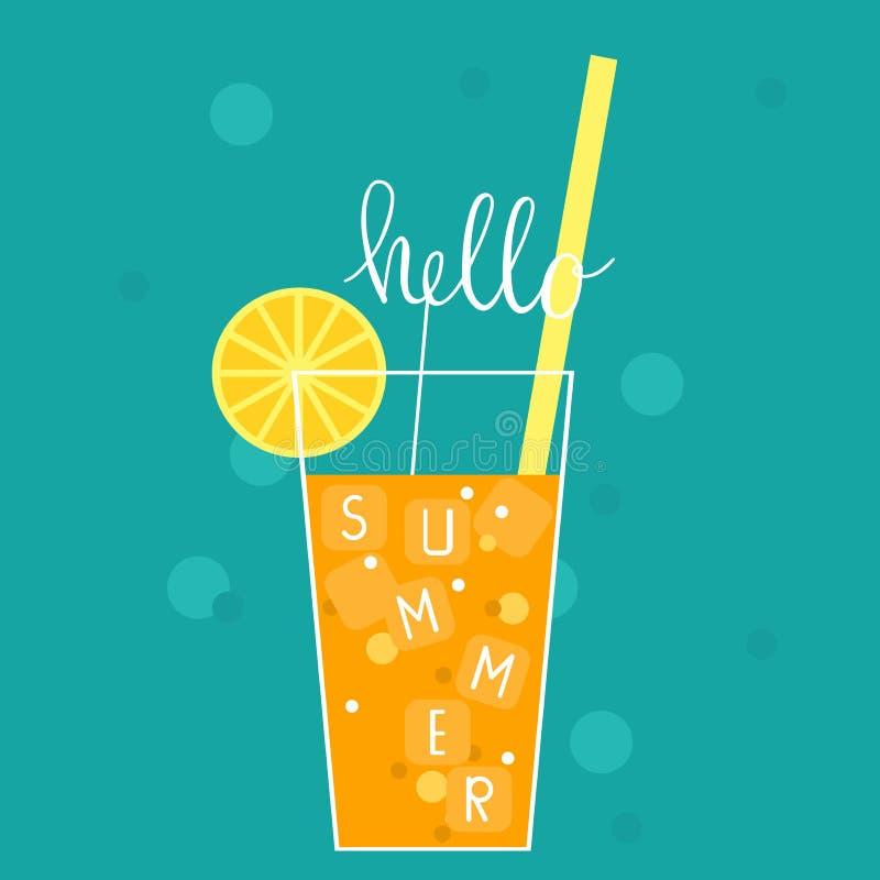Hello-de zomer Vectorillustratie met limonade stock illustratie
