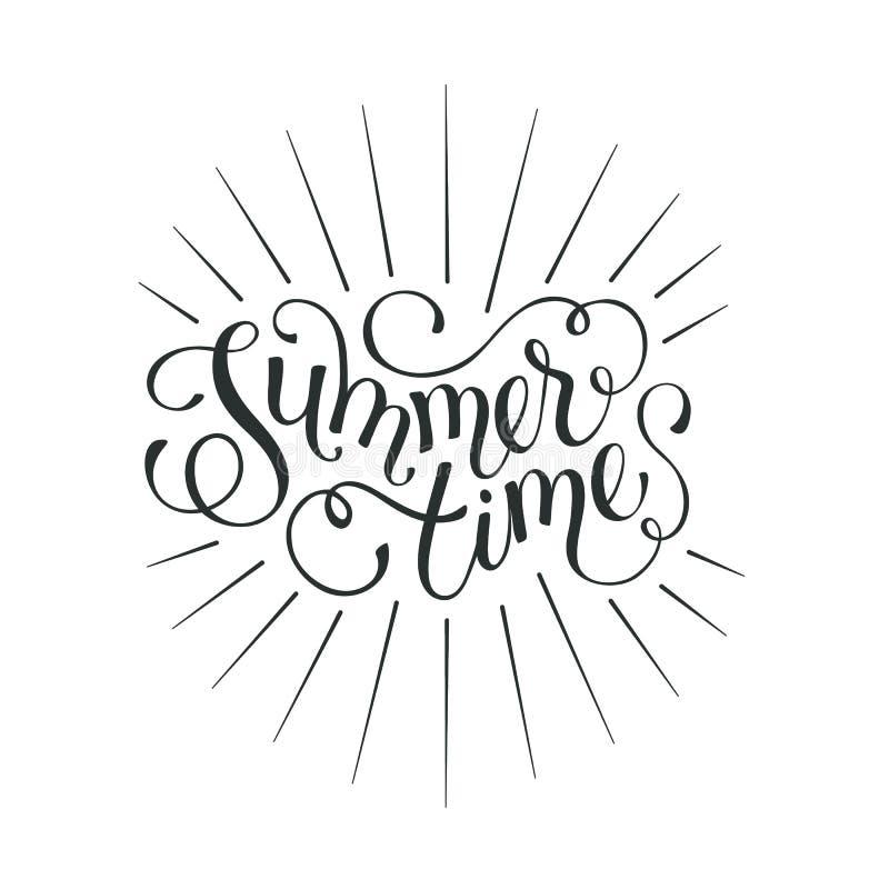 Hello-de zomer verwoording stock illustratie