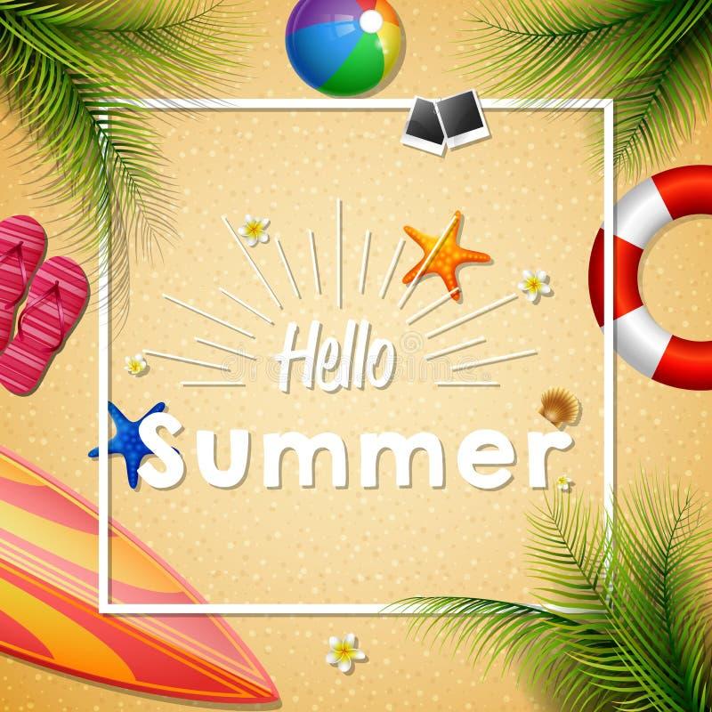 Hello-de zomerachtergrond royalty-vrije illustratie