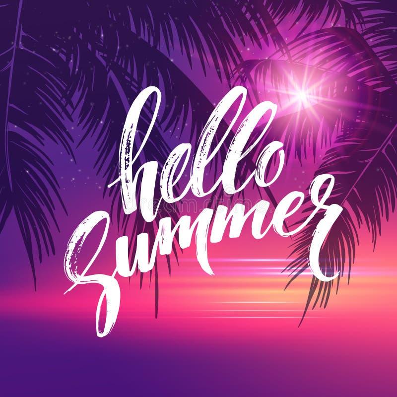 Hello-de zomerachtergrond Tropisch palmbladenpatroon, handschrift het van letters voorzien Palmtakken Tropisch Paradijs vector illustratie