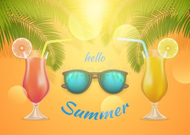 Hello-de Zomerbanner met een cocktail, sunglass en palmtak Gelukkig helder zomerconcept op gele achtergrond Vector stock illustratie
