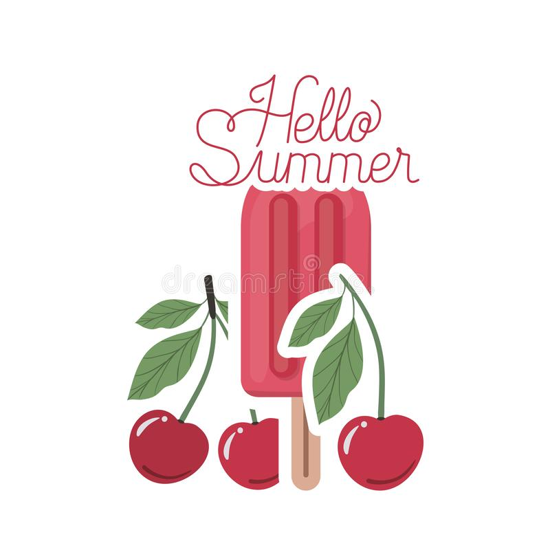 Hello-de zomeretiket met kersenroomijs vector illustratie